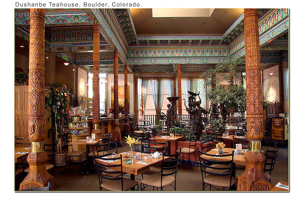 Dushanbe Teahouse, interior, Boulder, Colorado.<br />