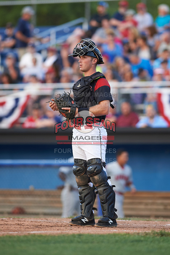 Batavia Muckdogs catcher David Gauntt (7) during a game against the Auburn Doubledays on June 19, 2017 at Dwyer Stadium in Batavia, New York.  Batavia defeated Auburn 8-2 in both teams opening game of the season.  (Mike Janes/Four Seam Images)