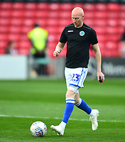 Macclesfield Town's Danny Whittaker during the pre-match warm-up<br /> <br /> Photographer Andrew Vaughan/CameraSport<br /> <br /> The EFL Sky Bet League Two - Lincoln City v Macclesfield Town - Saturday 30th March 2019 - Sincil Bank - Lincoln<br /> <br /> World Copyright © 2019 CameraSport. All rights reserved. 43 Linden Ave. Countesthorpe. Leicester. England. LE8 5PG - Tel: +44 (0) 116 277 4147 - admin@camerasport.com - www.camerasport.com