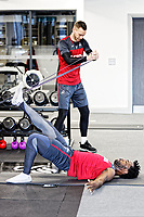 Erwin Mulder and Wilfried Bony exercise in the gym during the Swansea City Training and Press Conference at The Fairwood Training Ground, Swansea, Wales, UK. Thursday 25 January 2018