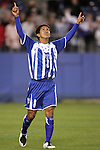 20 March 2008: Irvin Reyna (HON) (8) reacts after converting his penalty kick in the shootout. The Honduras U-23 Men's National Team defeated the Guatemala U-23 Men's National Team 6-5 on penalty kicks after a 0-0 overtime tie at LP Field in Nashville,TN in a semifinal game during the 2008 CONCACAF Men's Olympic Qualifying Tournament. With the penalty kick victory, Honduras qualifies for the 2008 Beijing Olympics.