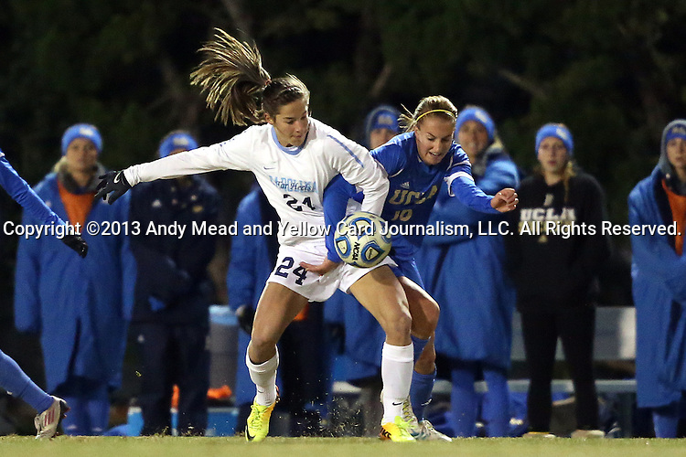 30 November 2013: North Carolina's Paige Nelsen (24) and UCLA's Koti Lavrusky (10). The University of North Carolina Tar Heels played the University of California Los Angeles Bruins at Fetzer Field in Chapel Hill, North Carolina in a 2013 NCAA Division I Women's Soccer Tournament Quarterfinal match. UCLA won the game 1-0 in two overtimes.