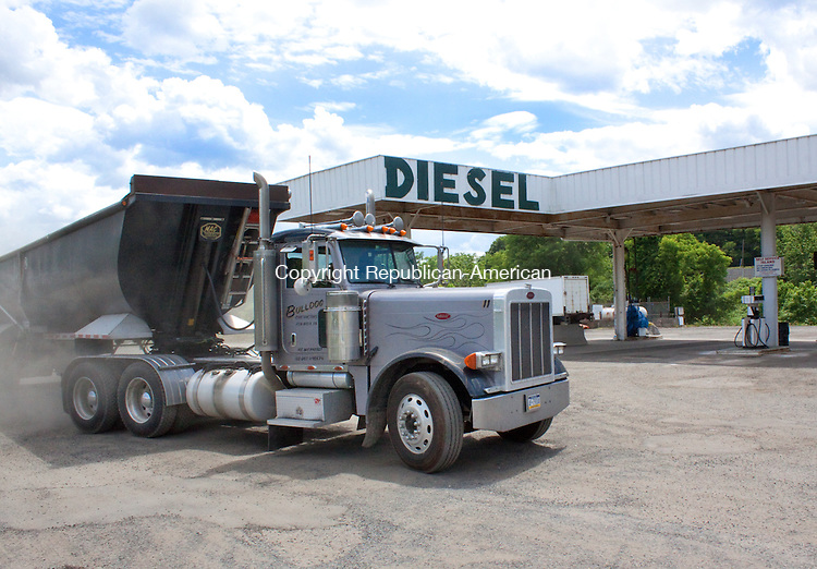 WATERBURY, CT- JUNE 07 2011-060612DA02-  A truck pulls in to Waterbury Valley Truck Stop on Thursday. Connecticut's state tax on diesel may rise to 51.2 cents a gallon on July 1..Darlene Douty Republican American