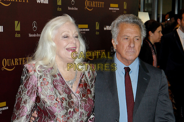 "Gwyneth Jones, Dustin Hoffman.Premiere of ""Quartet"" in the German Opera Berlin, Germany..January 20th, 2013.half length pink silver print blazer grey gray suit blue shirt red tie  .CAP/UNT.©Unit2/Capital Pictures"