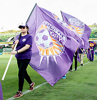 1st February 2020; HBF Park, Perth, Western Australia, Australia; A League Football, Perth Glory versus Melbourne Victory; Flag bearers before the start of the match