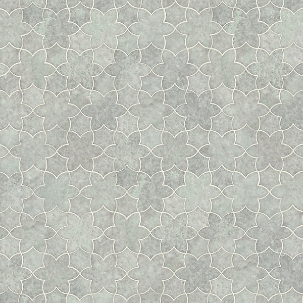 Cadiz, a waterjet stone mosaic, shown in polished Ming Green, is part of the Miraflores Collection by Paul Schatz for New Ravenna.<br />