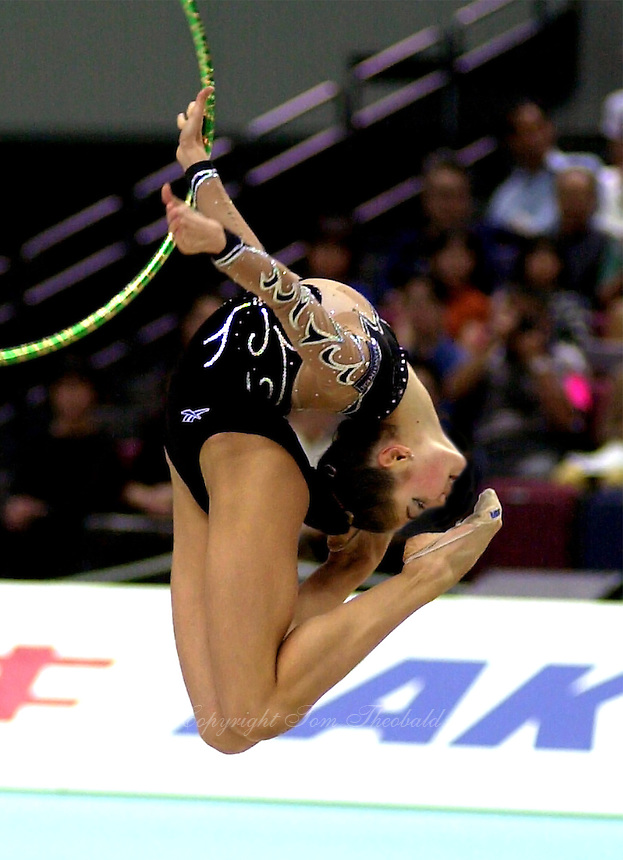03 OCTOBER 1999 - OSAKA, JAPAN: Alina Kabaeva of Russia performs with hoop in the individual finals at the 1999 World Championships in Osaka, Japan. Alina won Gold in the all-around earlier.