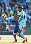 Nelson Cabral Semedo of FC Barcelona (R) fights for the ball with Javier Eraso Goni of CD Leganes (L) during the La Liga 2017-18 match between CD Leganes vs FC Barcelona at Estadio Municipal Butarque on November 18 2017 in Leganes, Spain. Photo by Diego Gonzalez / Power Sport Images