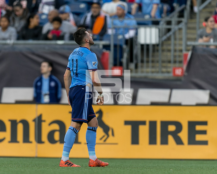 Foxborough, Massachusetts - October 15, 2017: In a Major League Soccer (MLS) match, New England Revolution (blue/white) defeated New York City FC (light blue/blue), 2-1, at Gillette Stadium.<br /> Red Card: Jack Harrison