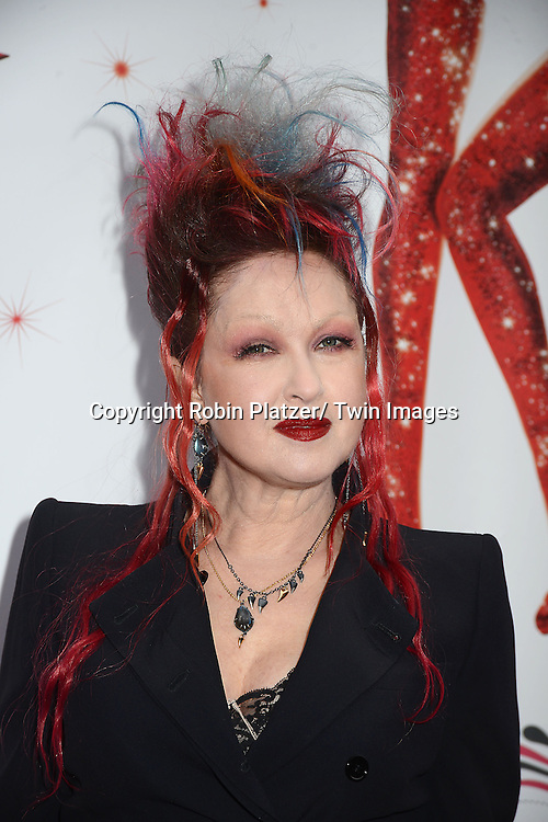"Cyndi Lauper arrives at the ""Kinky Boots"" Broadway Opening on April 4, 2013 at The Al Hirschfeld Theatre in New York City. Harvey Fierstein wrote is the Book Writer and Cnydi Lauper is the Composer."