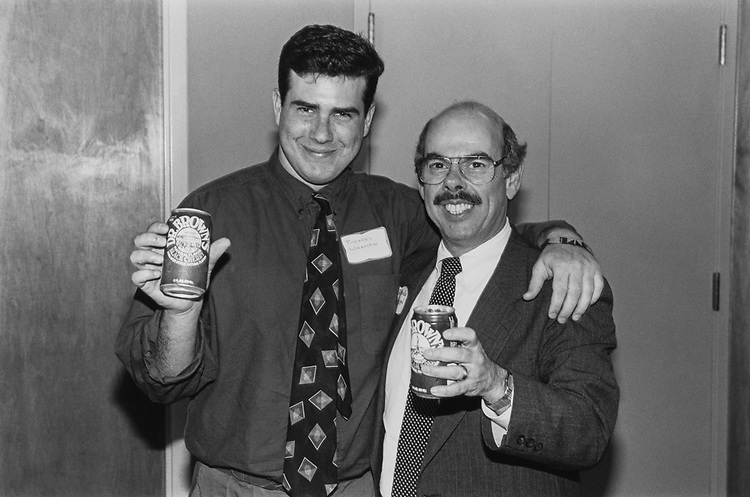 Rep. Henry Waxman, D-Calif., with son Michael at Rep. Ackerman's deli fundraiser. Michael will be attending Brandeis University in the fall. June 8, 1993. (Photo by Chris Ayers/CQ Roll Call)