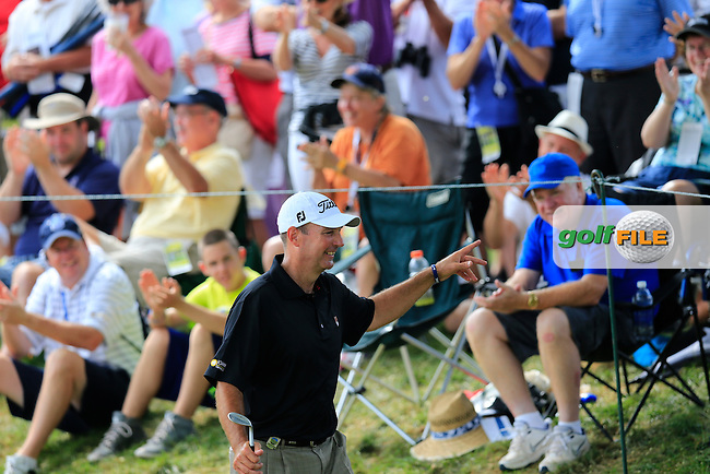 Stephen Gallacher (SCO) tchips his drop shot onto the 6th green during Thursday's Round 1 of the 95th US PGA Championship 2013 held at Oak Hills Country Club, Rochester, New York.<br /> 8th August 2013.<br /> Picture: Eoin Clarke www.golffile.ie