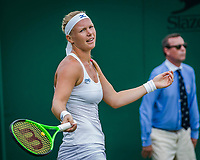 London, England, 4 th July, 2017, Tennis,  Wimbledon, Kiki Bertens (NED) reacts emotional.<br /> Photo: Henk Koster/tennisimages.com