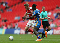 27th May 2018, Wembley Stadium, London, England;  EFL League 1 football, playoff final, Rotherham United versus Shrewsbury Town;  Aristote Nsiala of Shrewsbury Town puts pressure on Michael Smith of Rotherham United