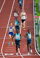 22 AUG 2013 - STOCKHOLM, SWE - Musaeb Abdulrahman Balla (bottom right) of Qatar wins the Mens 600m race in a time of 1:15:99 just ahead of Anthony Chemut of Kenya during the DN Galen meet of the 2013 Diamond League at the Stockholm Olympic Stadium in Stockholm, Sweden (PHOTO COPYRIGHT © 2013 NIGEL FARROW, ALL RIGHTS RESERVED)