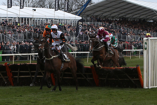 09.04.2016. Aintree, Liverpool, England. Crabbies Grand National Festival Day 3. Ubak ridden by Joshua Moore clears the final fence in the Gaskell's Waste Management Handicap Hurdle.