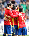 Spain's Alvaro Morata, Nolito, Hector Bellerin and Pedro Rodriguez celebrate goal during friendly match. June 1,2016.(ALTERPHOTOS/Acero)
