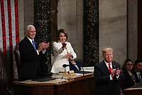 United States Vice President Mike Pence and Speaker of the United States House of Representatives Nancy Pelosi (Democrat of California) applaud as United States President Donald J. Trump finished delivering his second annual State of the Union Address to a joint session of the US Congress in the US Capitol in Washington, DC on Tuesday, February 5, 2019. Photo Credit: Alex Edelman/CNP/AdMedia