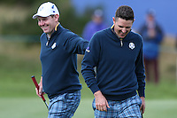 Justin Rose (EUR) and Stephen Gallacher (EUR) during the first practice day ahead of the 2014 Ryder Cup at Gleneagles, Perthshire, Scotland 26th to 28th September 2014. Picture David Lloyd / www.golffile.ie.
