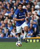9th September 2017, Goodison Park, Liverpool, England; EPL Premier League Football, Everton versus Tottenham; Ashley Williams of Everton brings the ball out of defence
