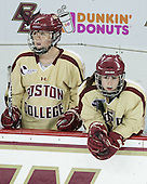 Caitlin Walsh (BC - 11), Kristina Brown (BC - 2) - The Boston College Eagles defeated the visiting University of Maine Black Bears 10-0 on Saturday, December 1, 2012, at Kelley Rink in Conte Forum in Chestnut Hill, Massachusetts.