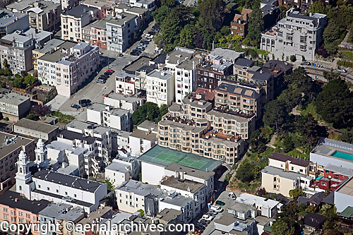 aerial photograph Russian Hill residential neighborhood San Francisco California