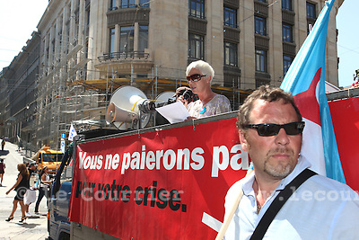 Genève, le 24.08.2009.Manif du SIT au passage de la Monnaie..© Le Courrier / J.-P. Di Silvestro