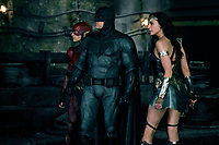 Justice League (2017) <br /> EZRA MILLER as The Flash, BEN AFFLECK as Batman and GAL GADOT as Wonder Woman <br /> *Filmstill - Editorial Use Only*<br /> CAP/KFS<br /> Image supplied by Capital Pictures