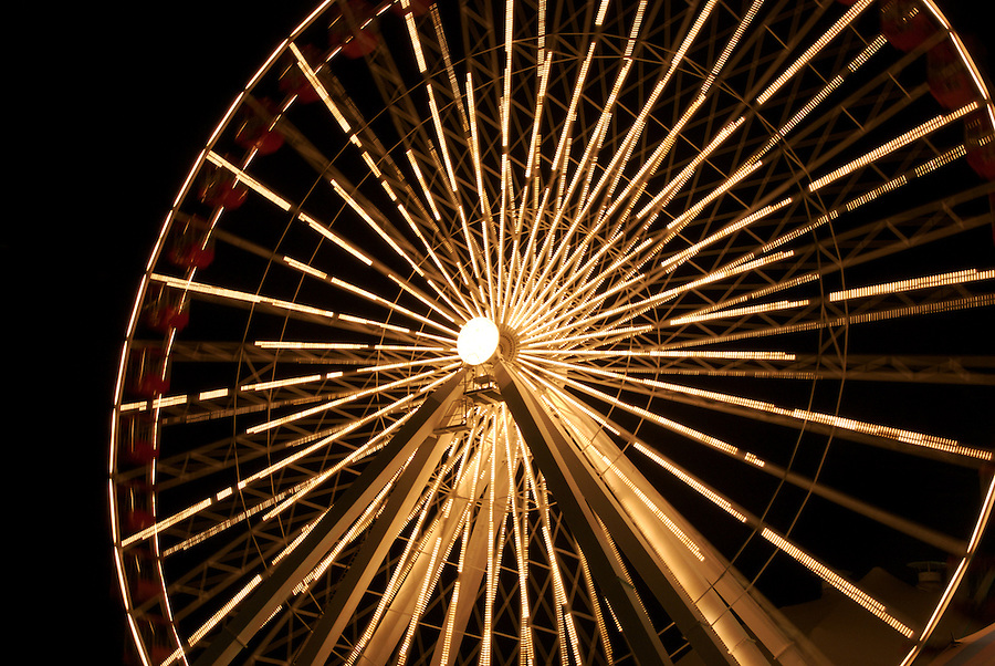Ferris Wheel at Navy Pier in Chicago, Navy pier is popular tourist attraction in the City.