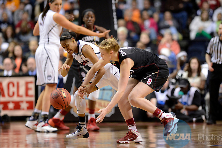 06 Apr 2014:  Stanford University forward Taylor Greenfield (4) and Moriah Jefferson (4) of the University of Connecticut compete for a loose ball during the 2014 Division I Women's Final Four in Nashville, TN. Connecticut defeated Stanford 75-56 to move on to the National Championship.  Jamie Schwaberow/NCAA Photos