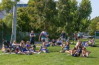 Picture by Brendon Ratnayake/SWpix.com - 14/02/2018 - Rugby League - Dacia World Club Challenge - Melbourne Storm v Leeds Rhinos - Gosch's Paddock, Melbourne, Australia - Leeds Rhinos fans watch from the sidelines during an open training session.