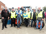 Organizing committee Myles Reilly, Michael Sweeney, Pat Barron, Tom Barron, Andrew Devlin, Damien Gaffney and Jerome McEvoy pictured with Peter Moroney of SOSAD at the tractor run in Dunleer. Photo:Colin Bell/pressphotos.ie