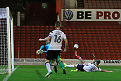 12th September 2017, Oakwell, Barnsley, England; Carabao Cup, second round, Barnsley versus Derby County; Tom Bradshaw of Barnsley FC scores 2-2