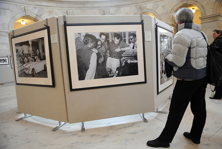 "A picture of jazz musicians Dave Brubeck and Paul Desmond, center, in India, 1958, was on display in the Russell Rotunda, January 26, 2009.  The print was part of the exhibit ""Jam Session: America's Jazz Ambassadors Embrace the World,"" which features of jazz legends who toured the world on behalf of the State Department from the mid 1950's through the 1970s."