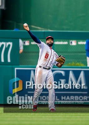 29 June 2017: Washington Nationals outfielder Brian Goodwin in action against the Chicago Cubs at Nationals Park in Washington, DC. The Cubs rallied against the Nationals to win 5-4 and split their 4-game series. Mandatory Credit: Ed Wolfstein Photo *** RAW (NEF) Image File Available ***