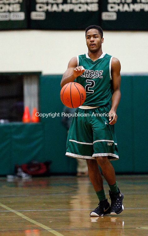 Waterbury, CT- 09 January 2016-010916CM05-  ACTION MAN-- Chase Collegiate's Blake Hardy takes the ball up court during their prep school matchup against MacDuffie in Waterbury on Saturday.      Christopher Massa Republican-American