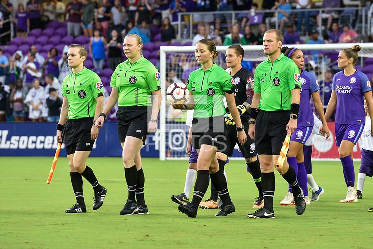 Orlando, FL - Saturday July 07, 2018: Referee during the second half of a regular season National Women's Soccer League (NWSL) match between the Orlando Pride and the Washington Spirit at Orlando City Stadium. Orlando defeated Washington 2-1.