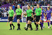 Orlando, FL - Saturday July 07, 2018: Referee during the second half of a regular season National Women's Soccer League (NWSL) match between the Orlando Pride and the Washington Spirit at Orlando City Stadium. Orlando defeated Washington 2-1.