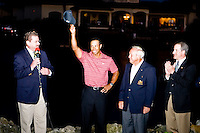 March 29, 2009, Arnold Palmer Invitation.  Tiger Woods acknowledges the fans as Tournament host Arnold Palmer looks on. Woods won the tournament with a birdie putt on the 18th hole to break a tie with Sean O'Hair..