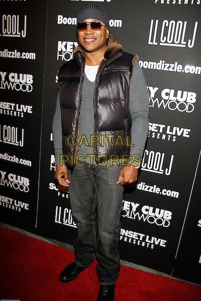 LL COOL J (JAMES TODD SMITH) .At the Key Club Grand Re-Opening,West Hollywood, CA, USA,.29th January 2010..full length grey gray hat sunglasses brown fur puffa sleeveless body warmer puffer jeans beanie top sweater jumper .CAP/ADM/RAT.©Ratianda/Admedia/Capital Pictures