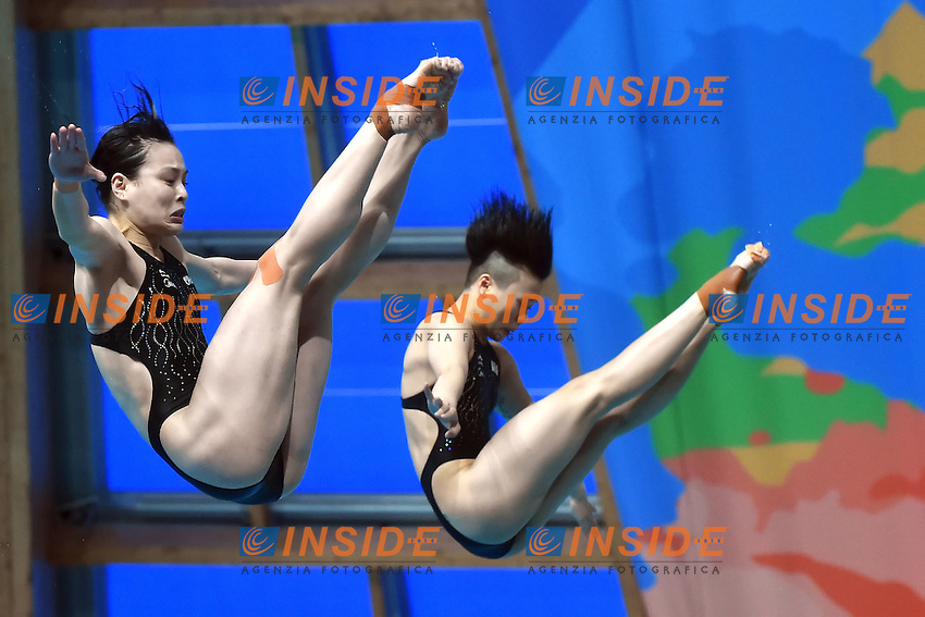 SHI Tingmao, WU Minxia CHN<br /> Day2 25/07/2015 Aquatics Palace <br /> Diving / Tuffi Women's 3m Synchro Springboard - Trampolino Sincronizzato 3m Donne <br /> XVI FINA World Championships Aquatics  <br /> Kazan Tatarstan RUS <br /> Photo Andrea Staccioli/Deepbluemedia/Insidefoto