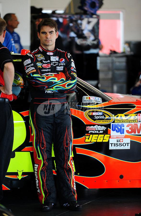Jul. 1, 2010; Daytona Beach, FL, USA; NASCAR Sprint Cup Series driver Jeff Gordon during practice for the Coke Zero 400 at Daytona International Speedway. Mandatory Credit: Mark J. Rebilas-