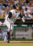 6 June 2007: Pittsburgh Pirates catcher and outfielder Ryan Doumit in action against the Washington Nationals at RFK Stadium in Washington, DC. The Nationals defeated the Pirates 6-5 in the second game of their 3-game series...Mandatory Credit: Ed Wolfstein Photo