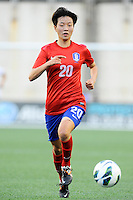 Korea Republic defender Kim Hyeri (20) in action during the International Friendly soccer match between the USA Women's National team and the Korea Republic Women's Team held at Gillette Stadium in Foxborough Massachusetts.   Eric Canha/CSM