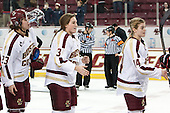 Andie Anastos (BC - 23), Erin Kickham (BC - 3), Emily Pfalzer (BC - 14) - The Boston College Eagles celebrate winning the 2014 Beanpot championship on Tuesday, February 11, 2014, at Kelley Rink in Conte Forum in Chestnut Hill, Massachusetts.