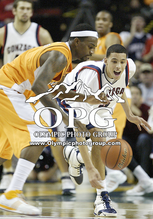 "29 December 2007:  Gonzaga Bulldogs #5 Austin Daye tries to steal the ball away from Tennessee's #1 Tyler Smith at Key Arena in the annual ""Battle of Seattle"" in Seattle, WA. The Tennessee Volunteers won 82-72 over the Gonzaga Bulldogs."
