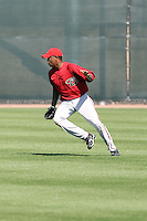 Socrates Brito #19 of the Arizona Diamondbacks works out at the Diamondbacks spring training complex at Salt River Fields on March 13, 2011 in Scottsdale, Arizona. .Photo by:  Bill Mitchell/Four Seam Images.