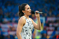 Picture by Alex Whitehead/SWpix.com - 07/10/2017 - Rugby League - Betfred Super League Grand Final - Castleford Tigers v Leeds Rhinos - Old Trafford, Manchester, England - Laura Wright sings 'Jerusalem.'