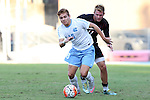 23 October 2015: North Carolina's Alan Winn (18) and Louisville's Sawyer Edwards (behind). The University of North Carolina Tar Heels hosted the University of Louisville Cardinals at Fetzer Field in Chapel Hill, NC in a 2015 NCAA Division I Men's Soccer match. UNC won the game 2-1.