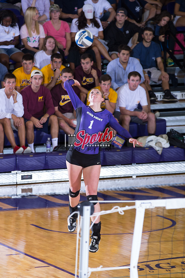 Katie Vincent (1) of the High Point Panthers serves against the UNC Greensboro Spartans at Millis Athletic Center on September 16, 2014 in High Point, North Carolina.  The Panthers defeated the Spartans 3-0.   (Brian Westerholt/Sports On Film)
